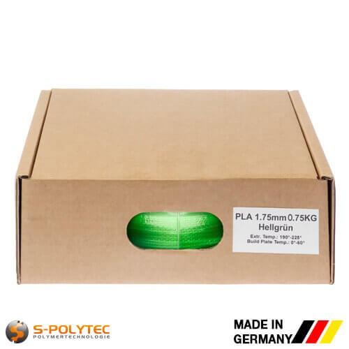 PLA filament in lichtgroen (soortgelijk RAL6018, Geelgroen) in hoge kwaliteit in vacuüm verpakt verschillende diameters als 0,75kg spool