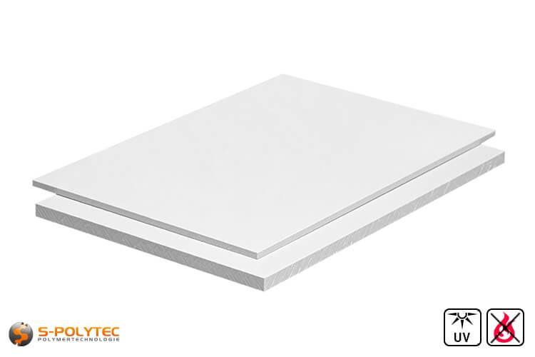 PVC platen wit uit herd PVC (PVCU) in diktes von 1mm - 4mm in 2,0 x 1,0 meter