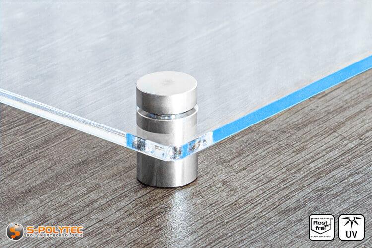 Afstandhouder 10x15mm van roestvrij staal met acrylglasboard