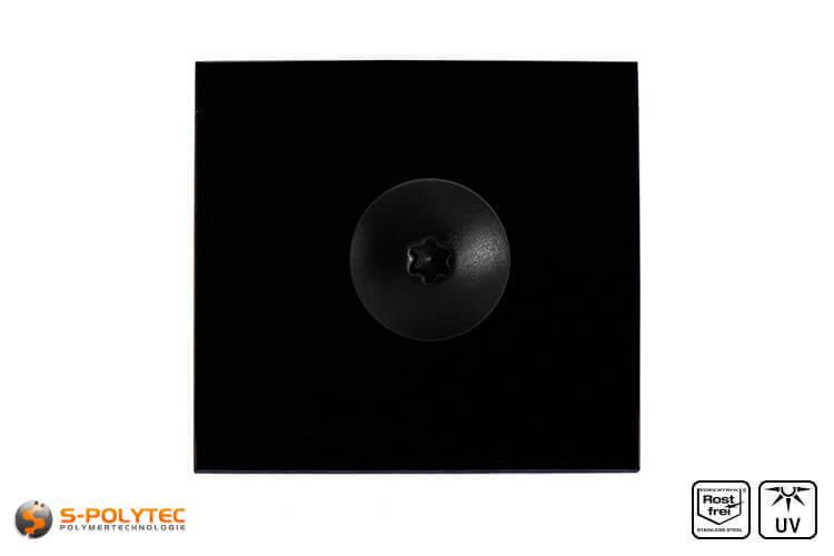 Balkonschroef RVS zwart op en HPL plaat in zwart