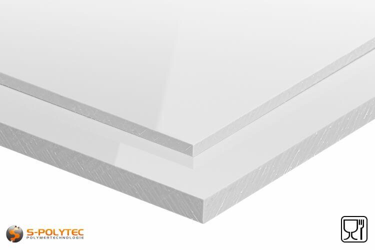 Polypropyleen platen (PP-H) wit (soortgelijk RAL9016) in diktes vanaf 10mm tot 20mm as standaard-formaat plaat - detail