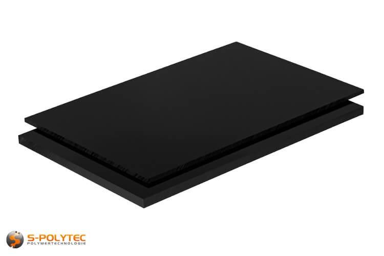 ABS platen in zwart (soortgelijk RAL9005, Gitzwart) met glad oppervlak in diktes vanaf 1mm tot 10mm als standaard formaat platen 2,0 x 1,0 meter