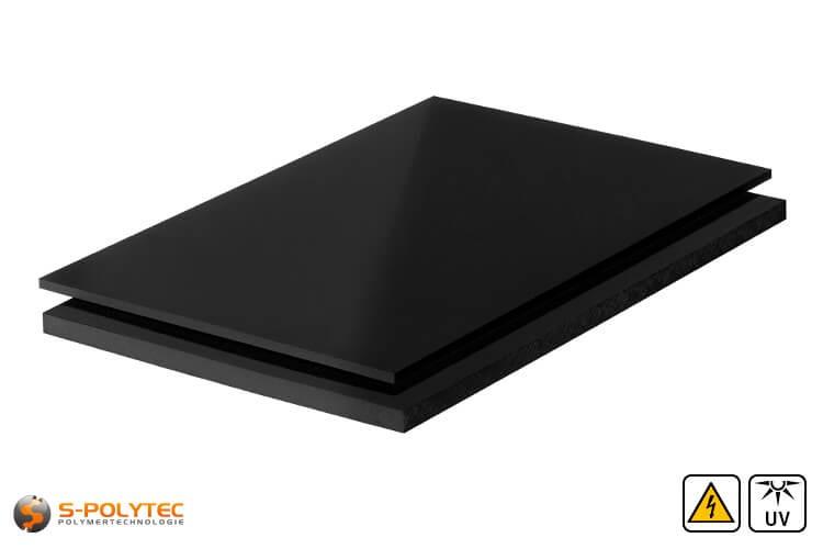 PE-EL platen (elektrische geleidend polyethyleen) in zwart met glad oppervlak in diktes vanaf 3mm tot 60mm als standaard formaat platen 2,0 x 1,0 meter