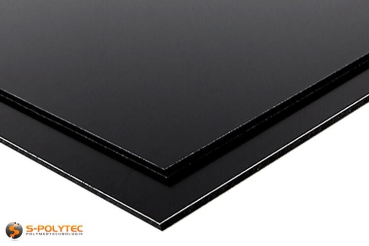Alu sandwich panelen (Alu-Dibond) in zwart op maat kopen - detail