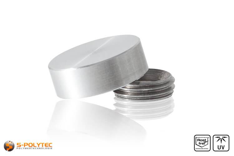 Schroef-afdekkap RVS met 15mm diameter en ring met schroefdraad