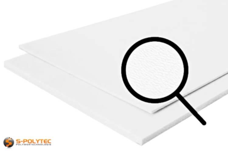 Polyethyleen (PE) platen wit (soortgelijke RAL 9016) met en nerv 19mm