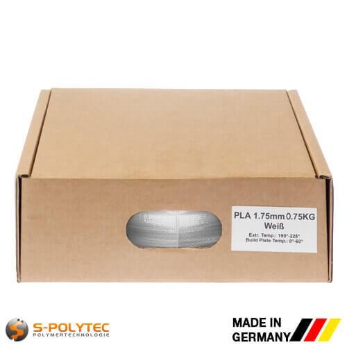PLA filament in wit in hoge kwaliteit in vacuüm verpakt verschillende diameters als 0,75kg spool