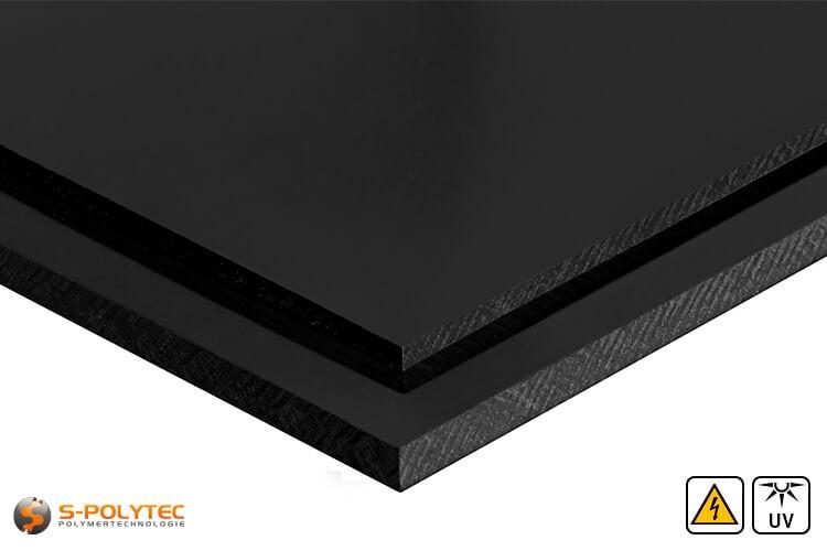 Elektrische geleidend polyethyleen platen in zwart met glad oppervlak in diktes vanaf 3mm tot 60mm als standaard formaat platen 2,0 x 1,0 meter - detail