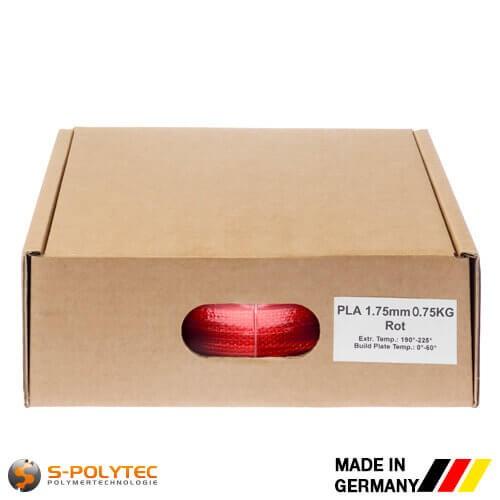 PLA filament in rood (vergelijkbaar met RAL3028, zuiver rood) in hoge kwaliteit in vacuüm verpakt verschillende diameters als 0,75kg spool
