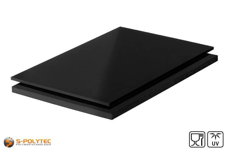 Polyethyleen platen (PE-HMW, PE-500) zwart met glad oppervlak in diktes vanaf 10mm tot 100mm als standaard formaat platen 2,0 x 1,0 meter