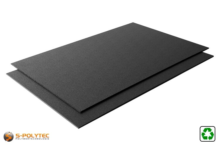 ABS plaat regeneraat als standaardformaat  plaat - zwart met generfde oppervlak an een zijde