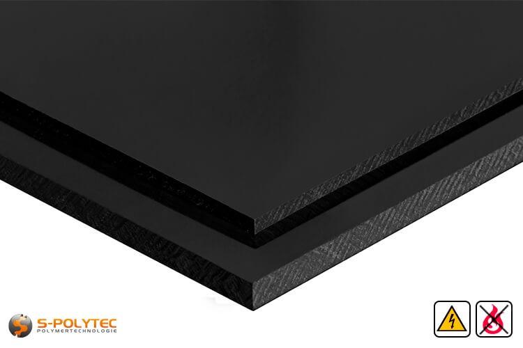 Elektrische geleidend polypropyleen platen in zwart met glad oppervlak in diktes vanaf 10mm tot 30mm als standaard formaat platen 2,0 x 1,0 meter - detail