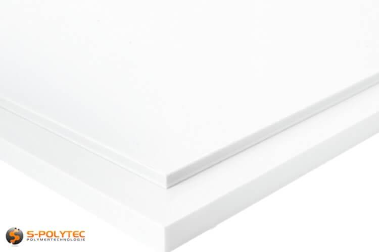 Witte PTFE als klein standard format plaat in diktes vanaf 5mm tot 15mm - detail