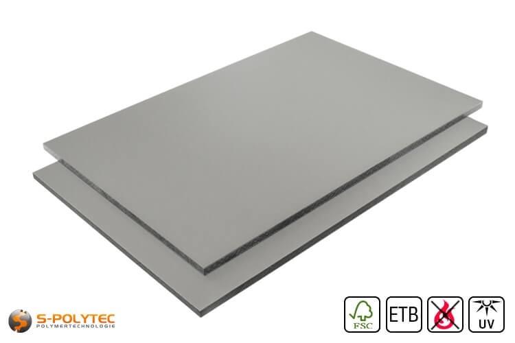 HPL platen RAL7037 stofgrijs moeilijk ontvlambaar met ETB Absturzsicherung in 6mm en 8mm
