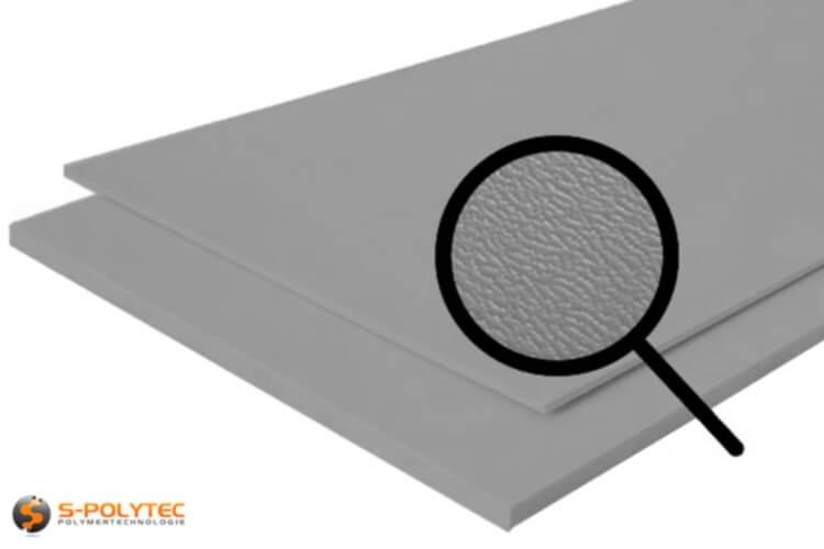Polyethyleen (PE) platen grijs (soortgelijke RAL 7042) met en nerv 19mm