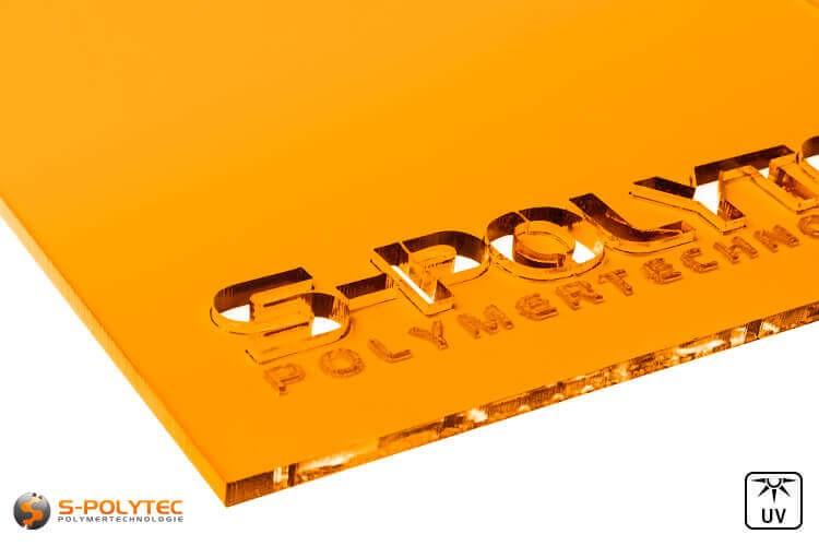 Acrylglas oranje doorzichtig in lasersnede