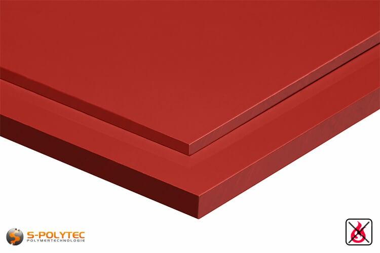 PVC platen rood uit hard-PVC (PVCU) in diktes vanaf 2mm tot 10mm - detail
