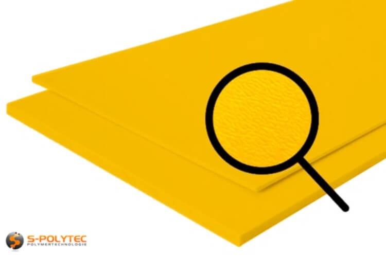 Polyethyleen (PE) platen geel (soortgelijke RAL 1004) met en nerv 19mm
