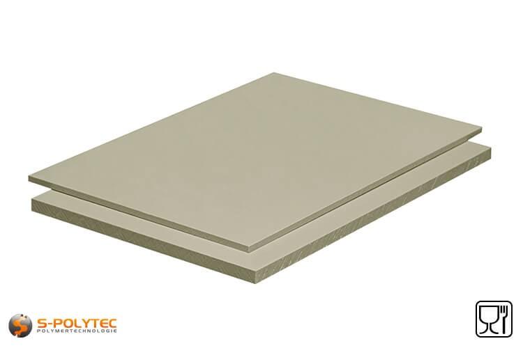Polypropyleen platen (PP-H) grijs (soortgelijk RAL7032) in diktes vanaf 1mm tot 50mm as standaard-formaat plaat met 2x1meter