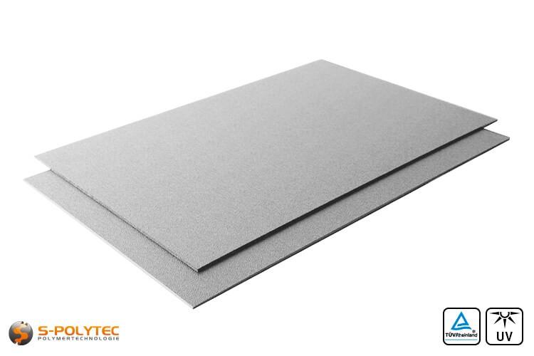 ASA/ABS grijs (RAL7040, Venstergrijs) als standard format plaat 2000mm x 1000mm in 2mm en 4mm dikte