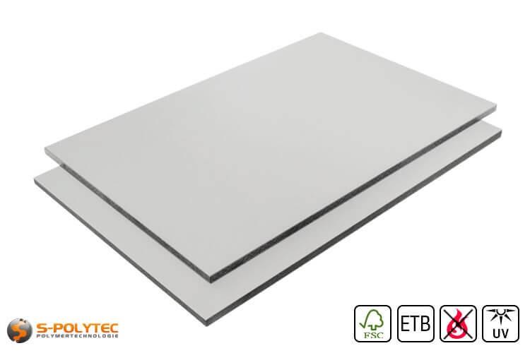 HPL platen RAL7035 lichtgrijs moeilijk ontvlambaar met ETB Absturzsicherung in 6mm of 8mm