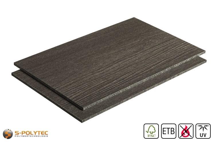 HPL plaat houtoptiek essenhout donker gebeitst op maat (moeilijk ontvlambaar, ETB-toepassing) in 6mm