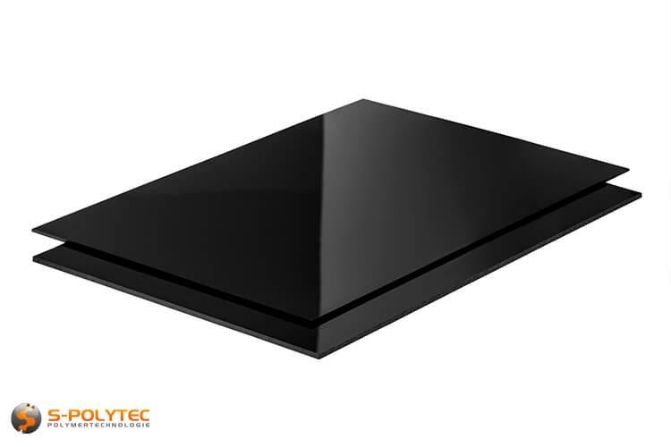 Polystyreen zwart (soortgelijk RAL9005, Gitzwart) als standard format plaat 2000mm x 1000mm in 2mm en 3mm dikte