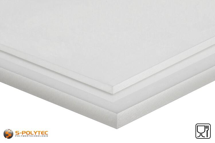 Polyethyleen platen (PE-HMW, PE-500) naturel in diktes vanaf 10mm tot 100mm als standaard formaat platen 2,0 x 1,0 meter - detail