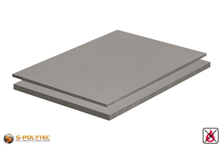 PVC platen lichtgrijs uit hard-PVC (PVCU) in diktes vanaf 1mm tot 30mm als standaardplaat met 2x1m