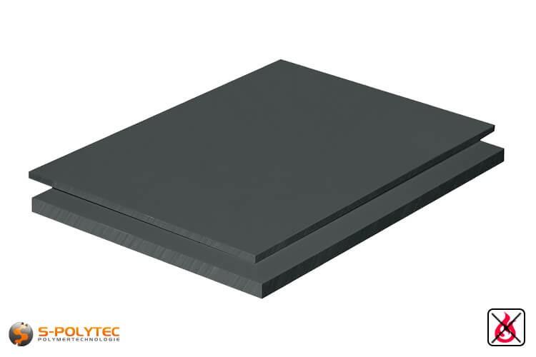 PVC platen donkergrijs uit hard-PVC (PVCU) in diktes vanaf 1mm tot 50mm als standaardplaat met 2x1m