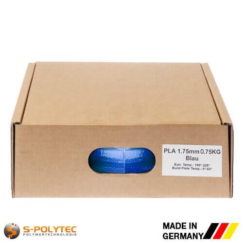 PLA filament in blauw (soortgelijk RAL5005, Signaalblauw) in hoge kwaliteit in vacuüm verpakt verschillende diameters als 0,75kg spool