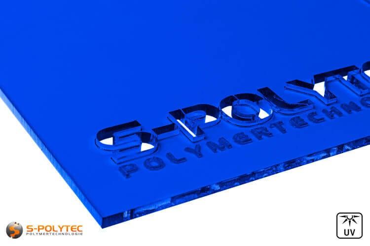 Acrylglas blauw doorzichtig in lasersnede