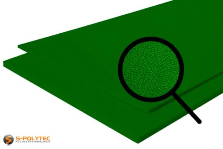 Polyethyleen (PE) platen groen (soortgelijke RAL 6005) met en nerv 19mm