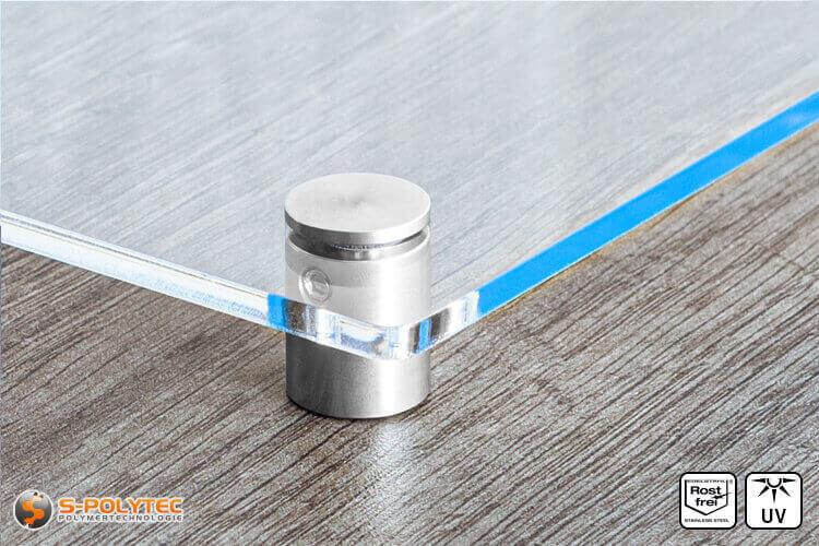 Afstandhouder 15x15mm van roestvrij staal met acrylglasboard