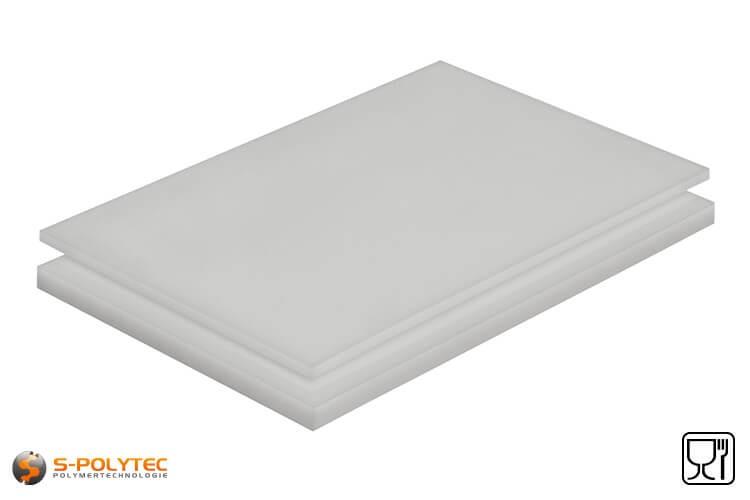 Polyethyleen platen (PE-HMW, PE-500) naturel met glad oppervlak in diktes vanaf 10mm tot 100mm als standaard formaat platen 2,0 x 1,0 meter