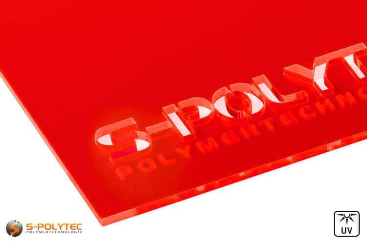 Acrylglas rood fluorescerend (Lasersnede)