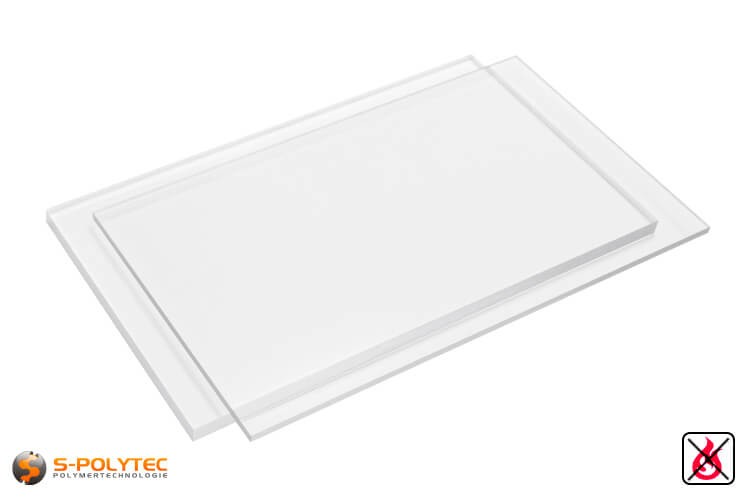 PVC platen transparant uit herd PVC (PVCU) in diktes von 1mm - 15mm in 2,0 x 1,0 meter