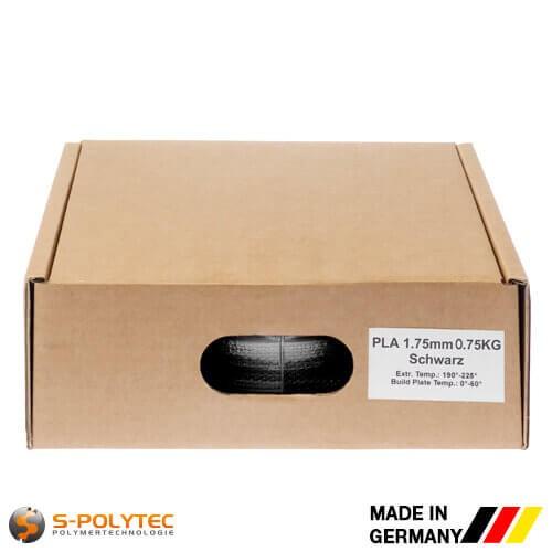 PLA filament in zwart in hoge kwaliteit in vacuüm verpakt verschillende diameters als 0,75kg spool