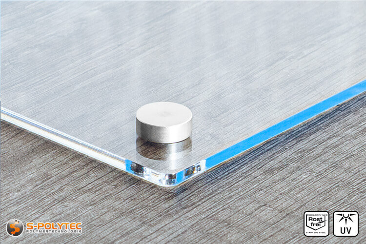Schroef-afdekkap 15mm van roestvrij staal met acrylglasboard