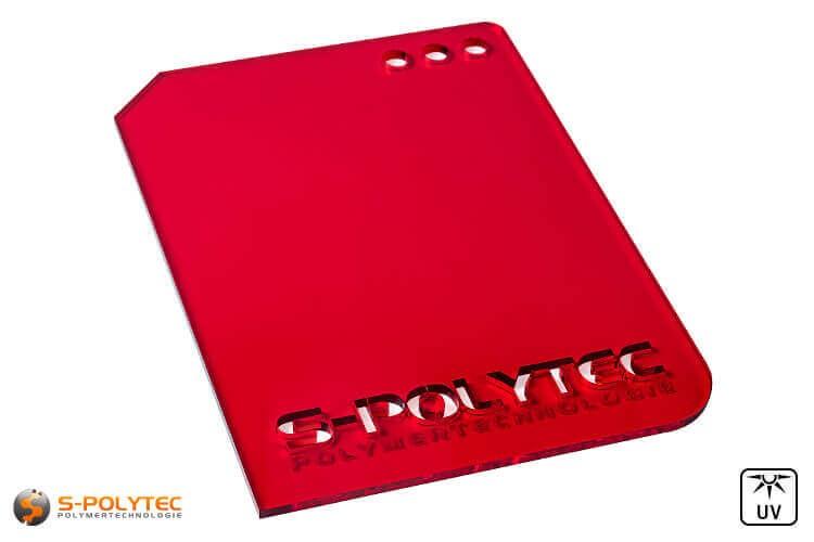 Acrylglas rood doorzichtig in lasersnede