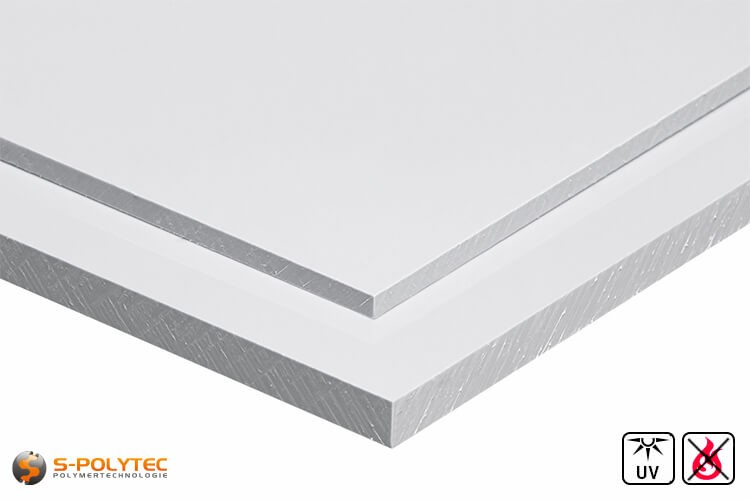 PVC platen wit uit herd PVC (PVCU) in diktes von 1mm - 4mm - detail
