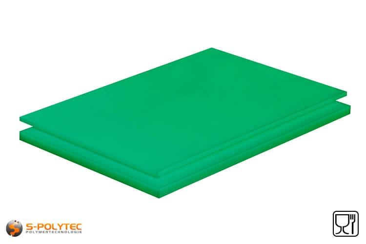 Polyethyleen platen (PE-UHMW, PE-1000) groen met glad oppervlak in diktes vanaf 8mm tot 70mm als standaard formaat platen 2,0 x 1,0 meter