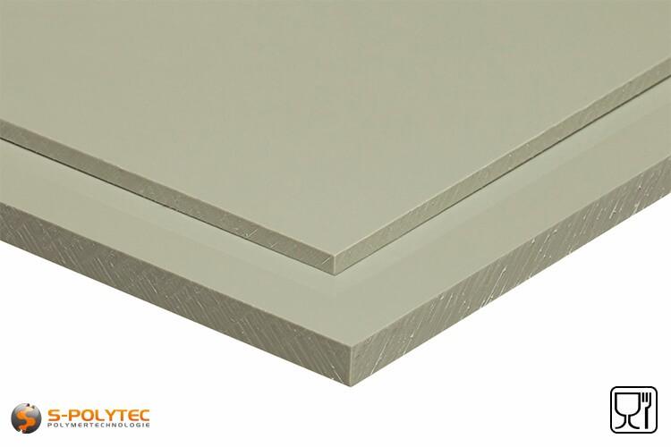 Polypropyleen platen (PP-H) grijs (soortgelijk RAL7032) in diktes vanaf 1mm tot 50mm as standaard-formaat plaat - detail