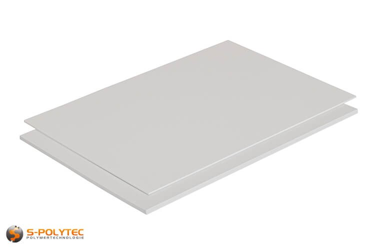 Polystyreen wit (soortgelijk RAL9003, Signaalwit) als standard format plaat 2000mm x 1000mm vanaf 1mm tot 5mm dikte
