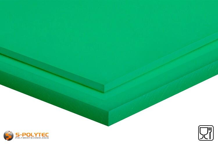 Polyethyleen platen (PE-UHMW, PE-1000) groen in diktes vanaf 8mm tot 70mm als standaard formaat platen 2,0 x 1,0 meter - detail