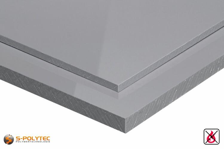 Moeilijk ontvlambaar polypropyleen platen in grijs met glad oppervlak in diktes vanaf 3mm tot 20mm als standaard formaat platen 2,0 x 1,0 meter - detail