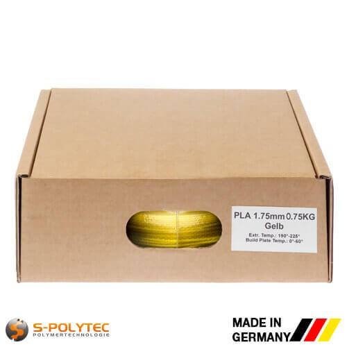 PLA filament in geel (vergelijkbaar met RAL1023, verkeersgeel) in hoge kwaliteit in vacuüm verpakt verschillende diameters als 0,75kg spool