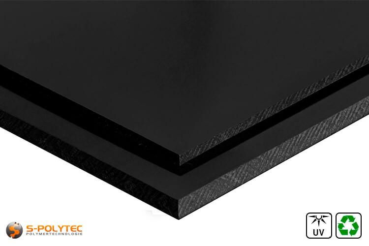 Polyethyleen recyclaat  platen (PE-UHMW, PE-1000) zwart in diktes vanaf 10mm tot 80mm als standaard formaat platen 2,0 x 1,0 meter - detail