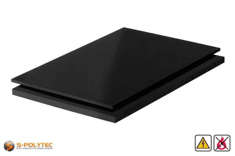 PP-EL-S platen (elektrische geleidend polypropyleen) in zwart met glad oppervlak in diktes vanaf 10mm tot 30mm als standaard formaat platen 2,0 x 1,0 meter