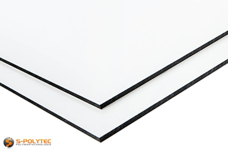 Alu sandwich panelen (Alu-Dibond) in wit op maat kopen - detail